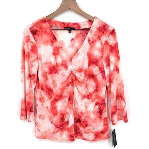 NEW Studio by JPR JohnPaulRichard v-neck top Coral Pink Floral Tie-Dye L women's